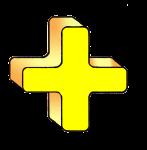 3-3d Symbols Plus-Yellow
