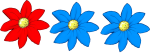 3 flowers - 2 thirds blue - fractions - John Duffield