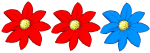 3 flowers - 2  thirds red - fractions - John Duffield