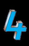 4-3d number four Blue - John Duffield duffield-design