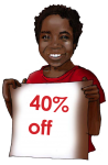 40 Percent Discount Sign John Duffield duffield-design