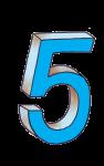 5-3d number five Blue - John Duffield duffield-design