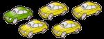 5 cars - 1 fifth green - fractions - John Duffield