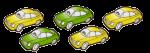 5 cars - 2 fifths green - fractions - John Duffield