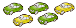 5 cars - 3 fifths green - fractions - John Duffield