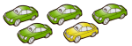 5 cars - 4 fifths green - fractions - John Duffield