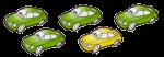 5 cars - 4 fifths green - fractions - John Duffield