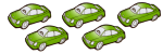 5 cars - all green - fractions - John Duffield