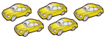 5 cars - all yellow - fractions - John Duffield
