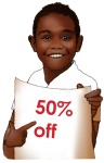 50 Percent Discount Sign John Duffield duffield-design