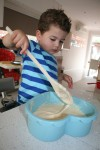 6 Joey puts cake mix in heart mould Bev Dunbar Maths Matters