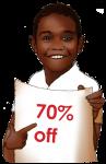 70 Percent Discount Sign John Duffield duffield-design