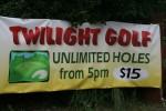 After 5 pm Golf $15 Sign Bev Dunbar Maths Matters