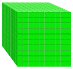 1000s unit - Base Ten Cube green - place value