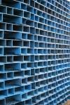 Blue 3D rectangular boxes (Clayton Blake Pallet Pavilion) Bev Dunbar Maths Matters