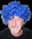 Duffy in blue wig Bev Dunbar Maths Matters