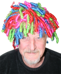 Duffy in coloured wig Bev Dunbar Maths Matters