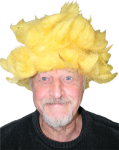 Duffy in yellow wig Bev Dunbar Maths Matters