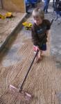 Dustin rakes 2D parallel lines Bev Dunbar Maths Matters