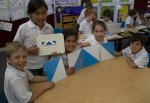 Flip blue white tile 2d patterns Bev Dunbar Maths Matters