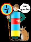 Fraction Character 3 - One Quarter - John Duffield duffield-design
