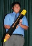 Khoi made a 1 metre yellow pencil Bev Dunbar Maths Matters