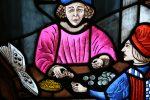 Medieval money changer closeup Bev Dunbar Maths Matters