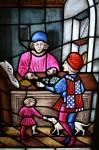 Medieval money changer with a customer Bev Dunbar Maths Matters
