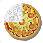 Pizza - Three Quarters with outline - John Duffield duffield-design