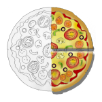 Fraction Pizza - Two Quarters - John Duffield duffield-design