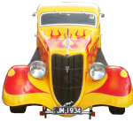 Red and yellow hotrod - 3D symmetry - transport - front view - Bev Dunbar Maths Matters