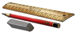 Ruler Pencil & Rubber - John Duffield duffield-design