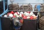 Spherical Buoys on Squid Boat Hobart Docks Bev Dunbar Maths Matters