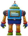 Striped robot - toys - Bev Dunbar Maths Matters