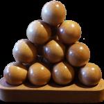 Wooden ball triangular pyramid front view Bev Dunbar Maths Matters