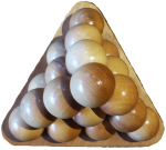 Wooden ball triangular pyramid top view Bev Dunbar Maths Matters