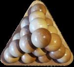 Wooden ball triangular pyramid top view Bev Dunbar Maths Matters
