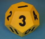Yellow dodecahedron die number 3 Bev Dunbar Maths Matters