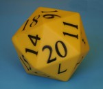 Yellow icosahedron die - Bev Dunbar Maths Matters