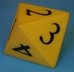 Yellow octahedon die showing 2 - Bev Dunbar Maths Matters