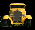 Yellow vintage car - Front - Bev Dunbar Maths Matters